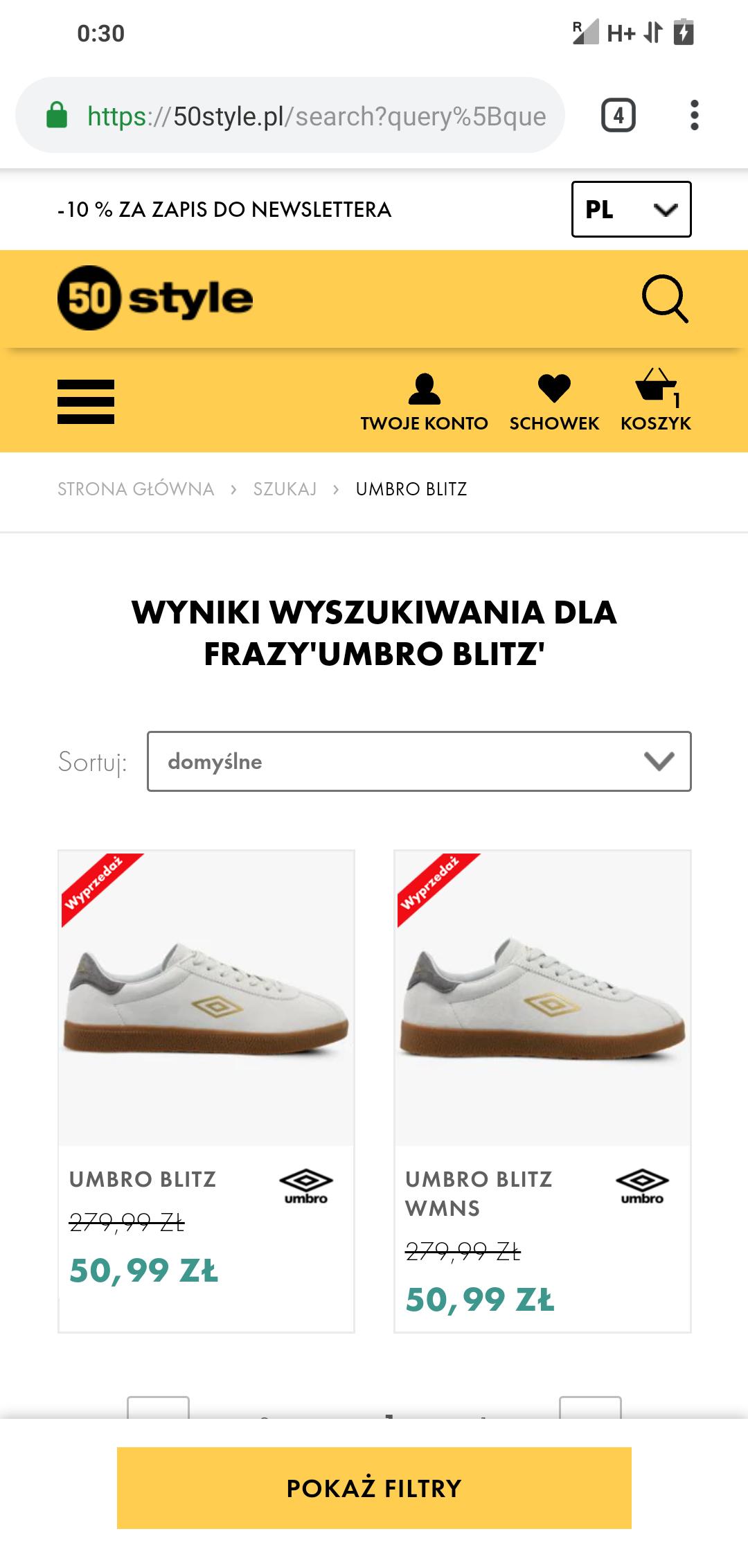 Umbro Blitz buty męskie (44) i damskie (36, 37, 38)