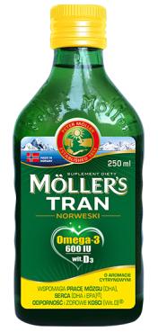 MOLLERS OMEGA-3 TRAN NORWESKI O AROMACIE CYTRYNOWYM 250 ML