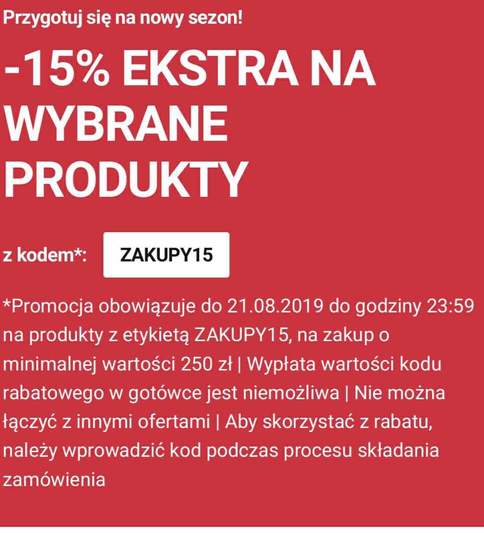 - 15% extra na wybrane produkty