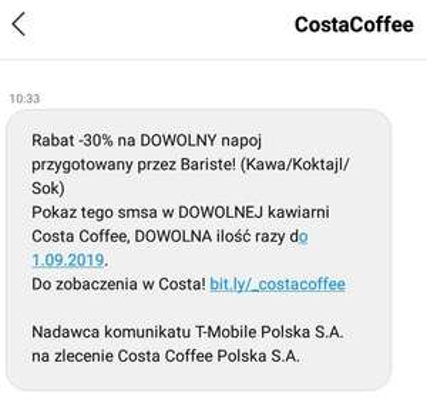 Costa Coffee -30% na kawy, koktajle i soki