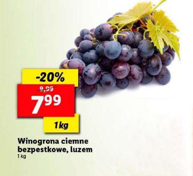 Winogrona ciemne bezpestkowe 1kg @Lidl