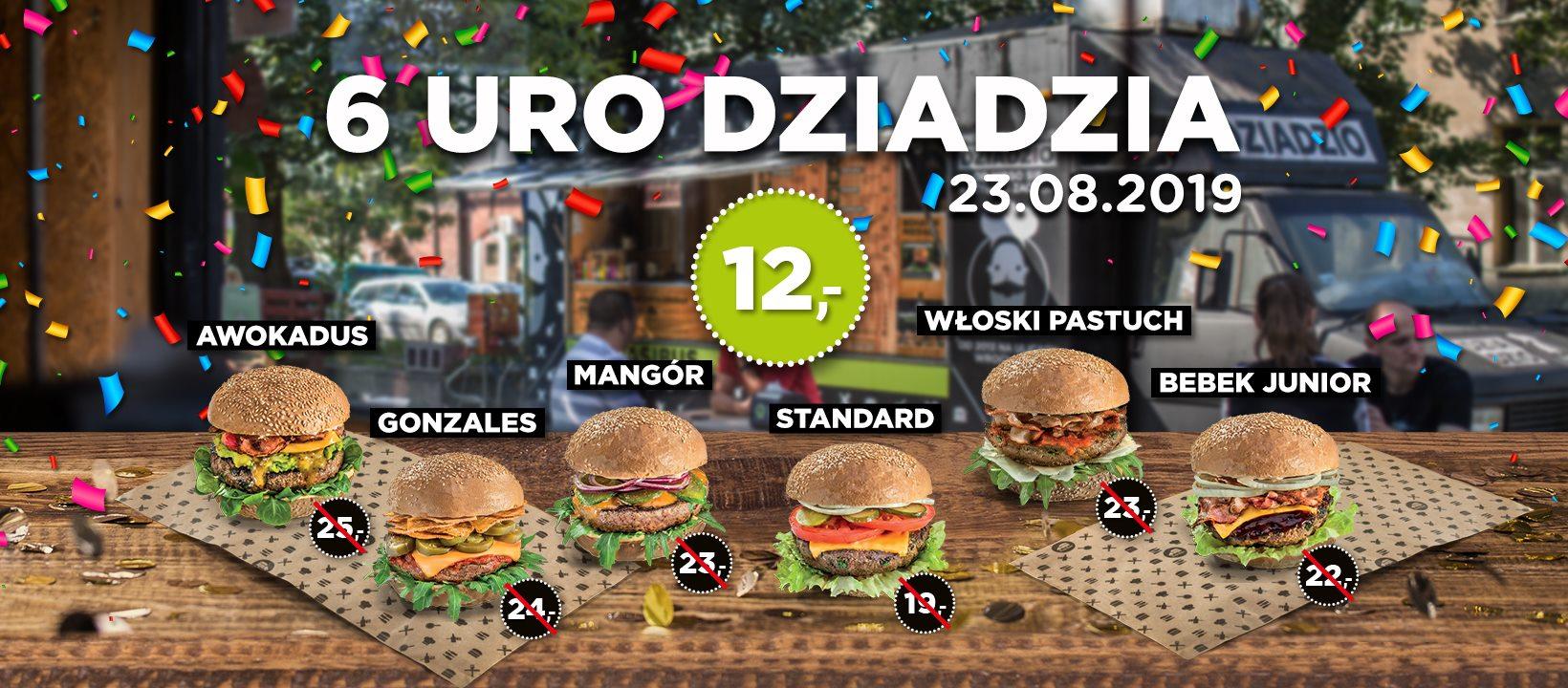 [Wrocław, Powstańców Śląskich 5] Pasibus Dziadzio: 6 burgerów po 12 zł