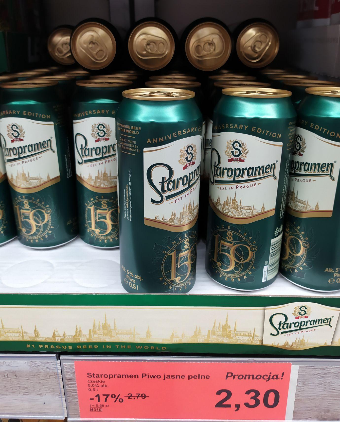 Staropramen Czeskie Piwo Jasne Pełne Alk.5% 0,5l pucha Aldi
