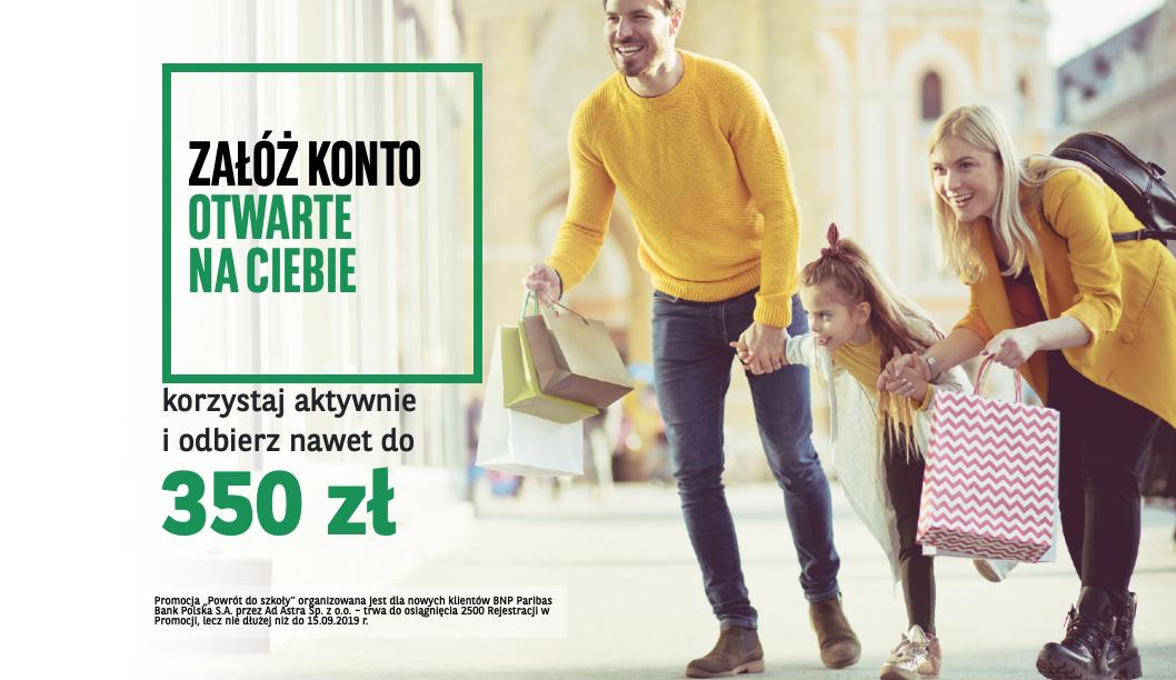 Konto w Paribas - do 350 złotych bonu do Biedronki