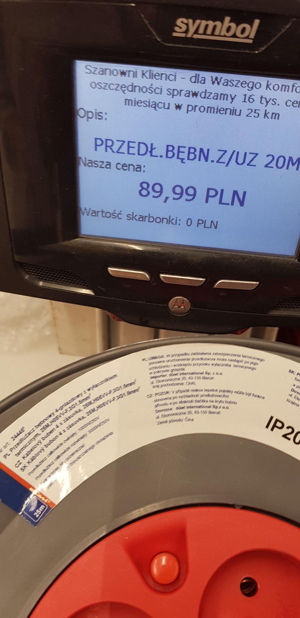 Błąd cenowy przedłużacz bębnowy Auchan Komorniki