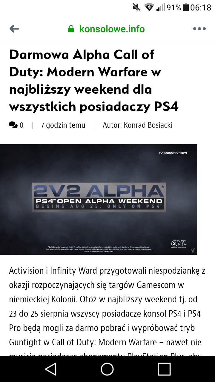 Darmowa Alpha Call of Duty: Modern Warfare
