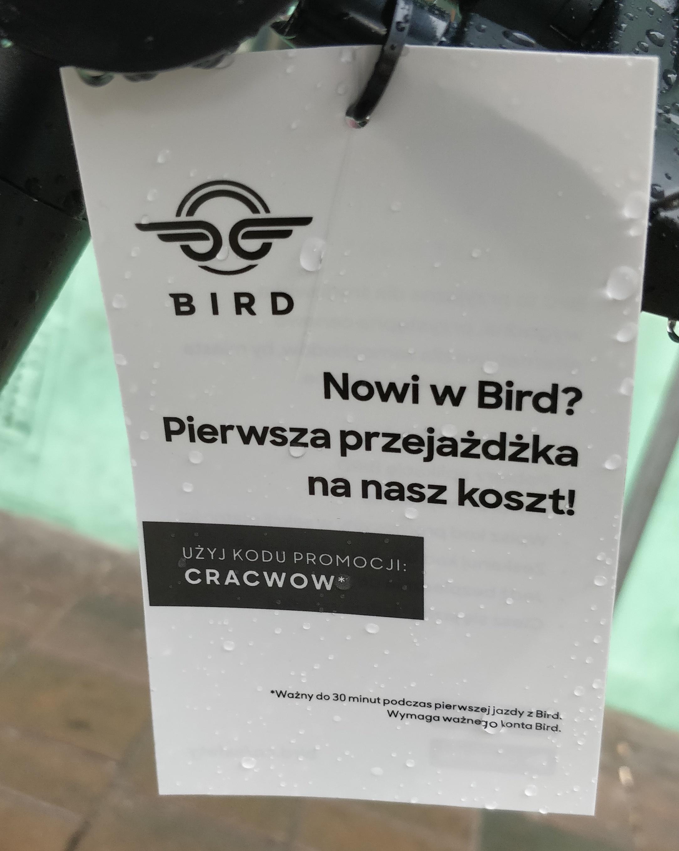 Hulajnogi Bird - darmowy przejazd w Krakowie