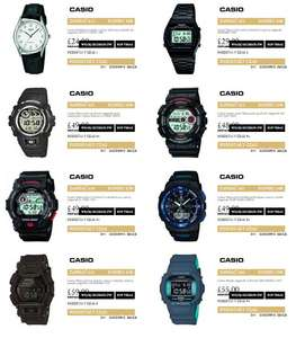 Wyprzedaż zegarków Casio: Edifice, G-Shock i inne modele (do 50% taniej) @ Watches2U