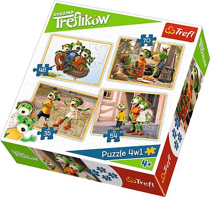 Trefl puzzle 4w1, 207 elementów, Rodzina Treflików