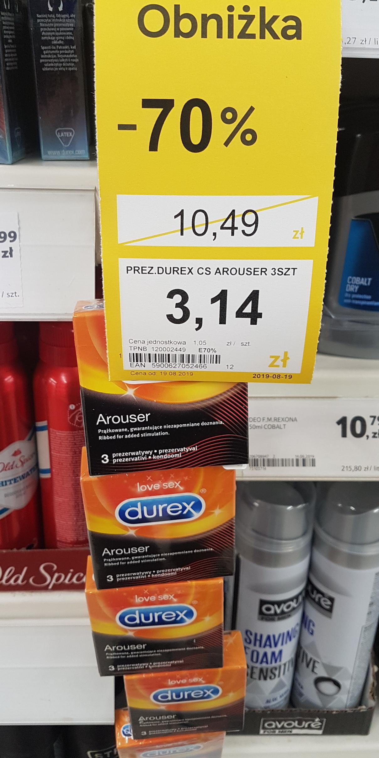 Obniżka ceny 70% na prezerwatywy marki Durex w Tesco.