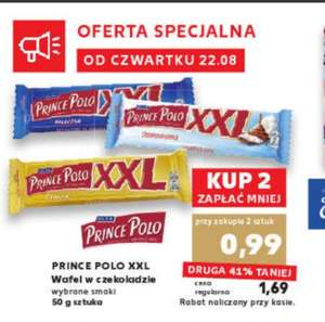 Wafle Prince Polo XXL wybrane smaki, cena za 1 sztukę 0,99 przy zakupie dwóch ; Grześki Mega wybrane rodzaje cena za sztukę 0,89 @Kaufland