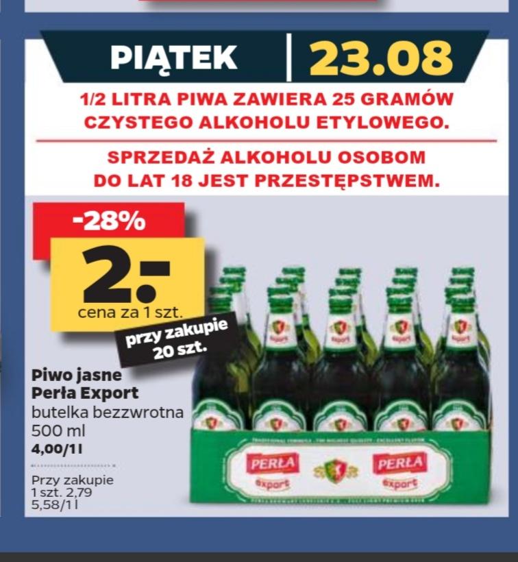 Perła Export jasne  0.5 L butelka bezzwrotna,cena przy zakupie 20 sztuk@Netto 23.08