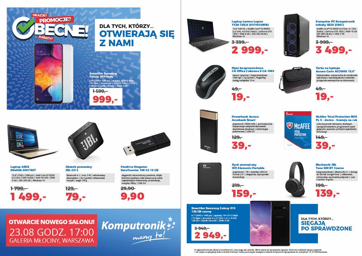 SAMSUNG Galaxy S10 128GB czarny i inne promocje na otwarcie Komputronik Galeria MŁOCINY