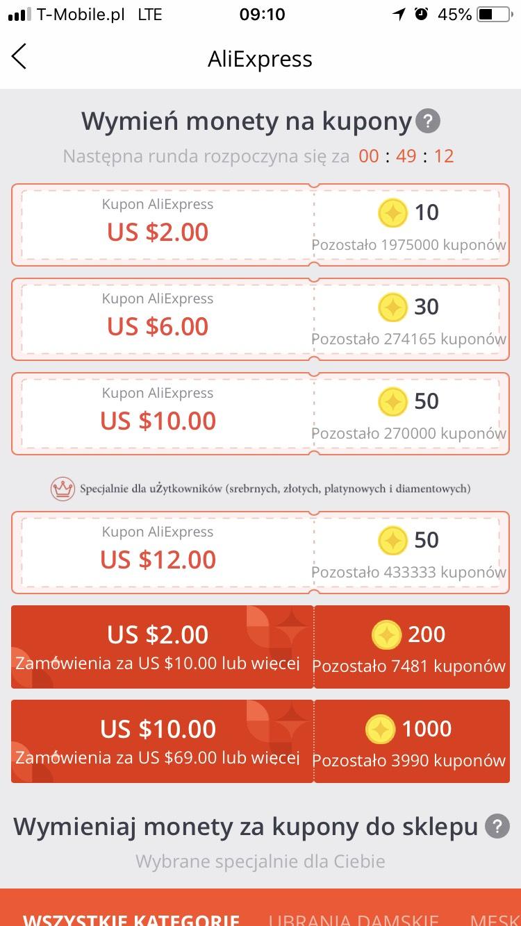 AliExpress kupony rabatowe aplikacja mobilna 2/10 $ i 10/69 $