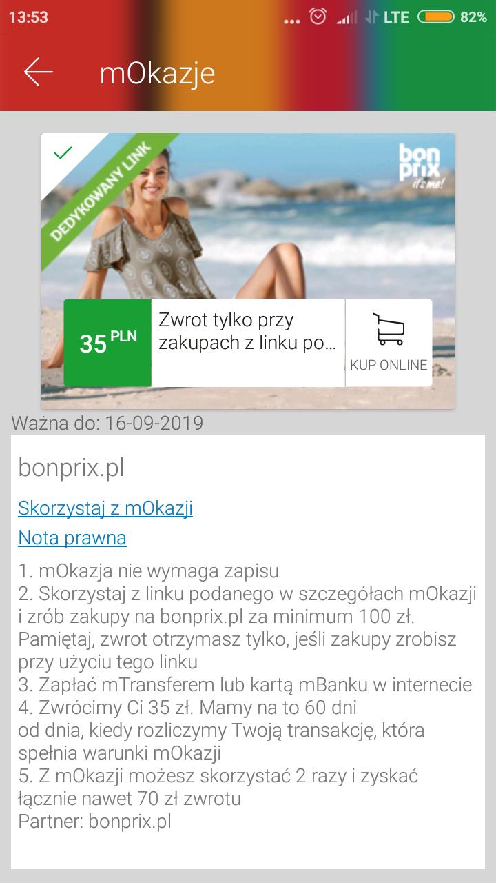 mOkazje: Zwrot 35 zł przy mwz 100 zł na bonprix.pl