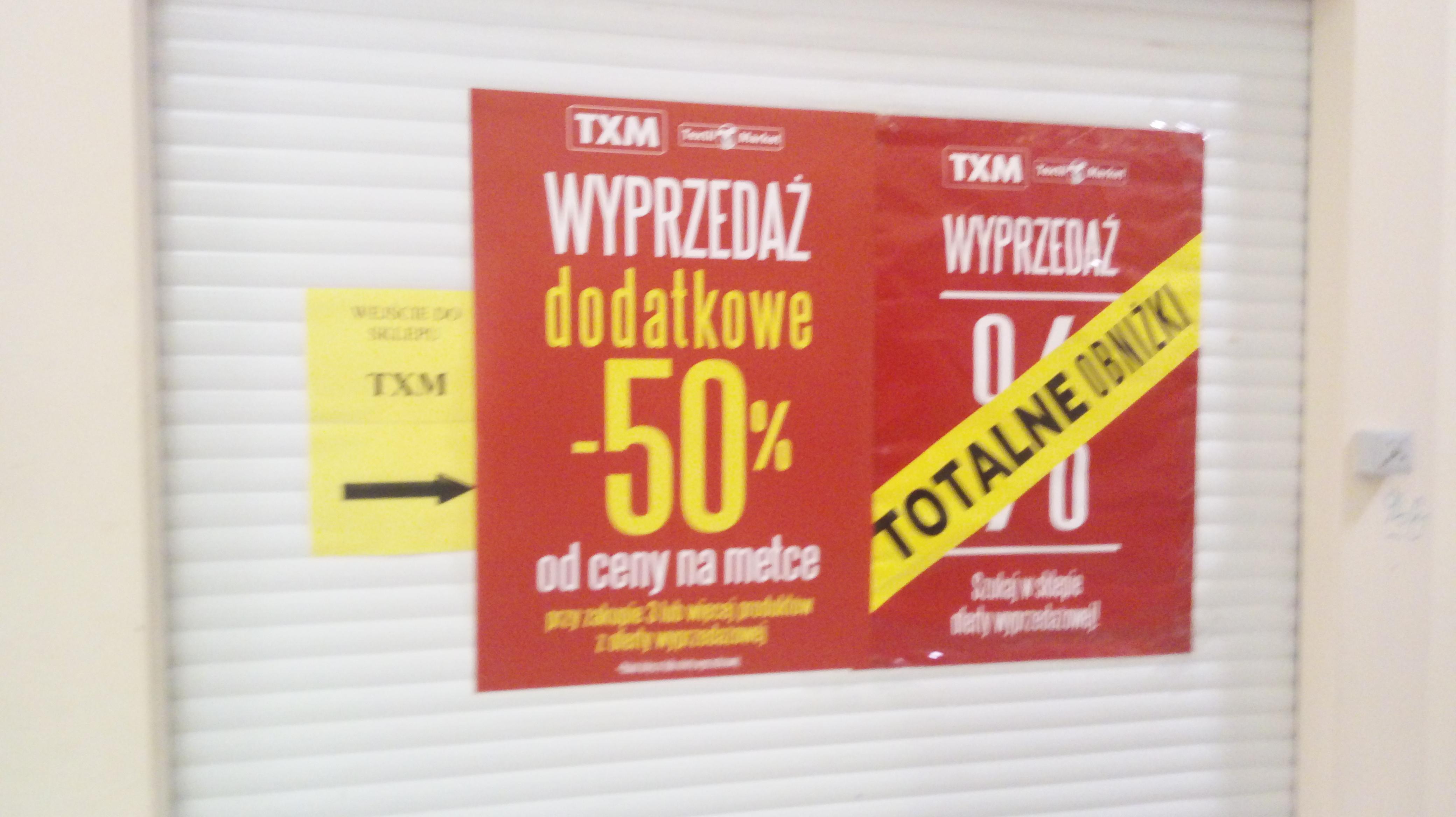dodatkowe 50% rabatu na produkty wyprzedażowe - TXM