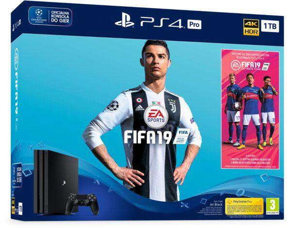 Konsola SONY PlayStation 4 Pro 1TB B Chassis Czarna + FIFA 19 + Playstation Plus 14 dni + Dodatkowy Pad za 1zł