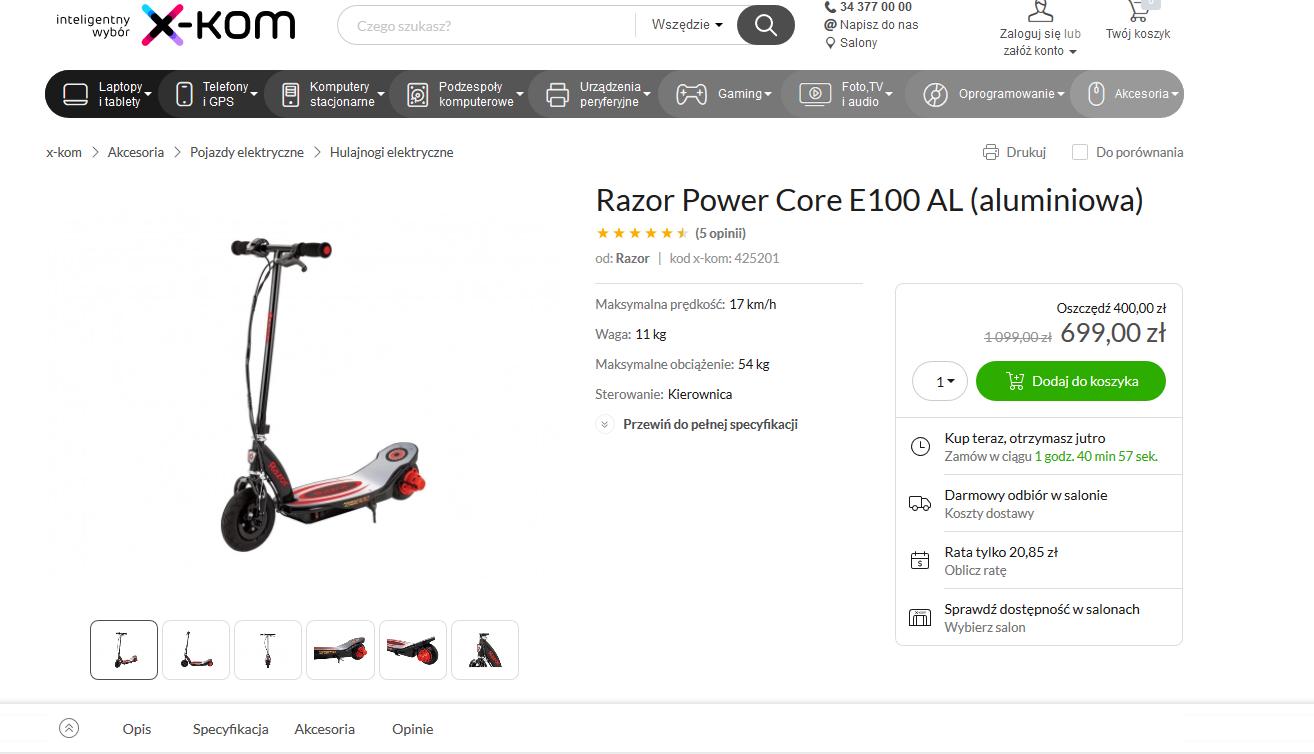 Razor Power Core E100 AL (aluminiowa) - taniej 400 zł