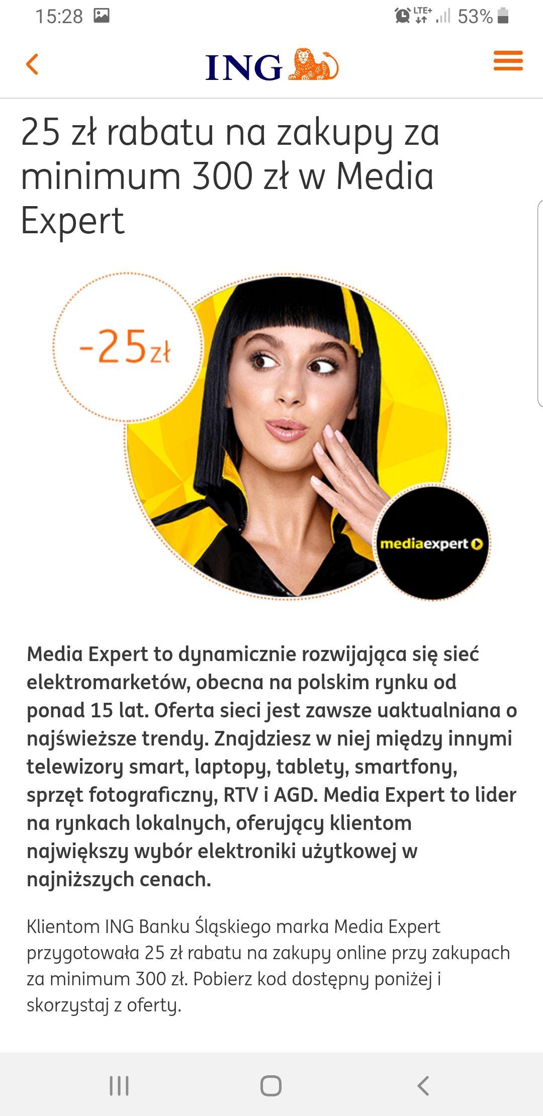 25/300 i 50/1000 Mediaexpert Kody Rabatowe ING MOBILE