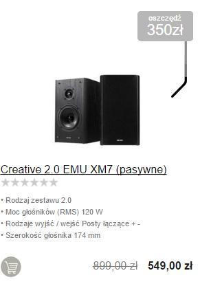 Komplet głośników Creative 2.0 EMU XM7 za 549zł @ X-Kom