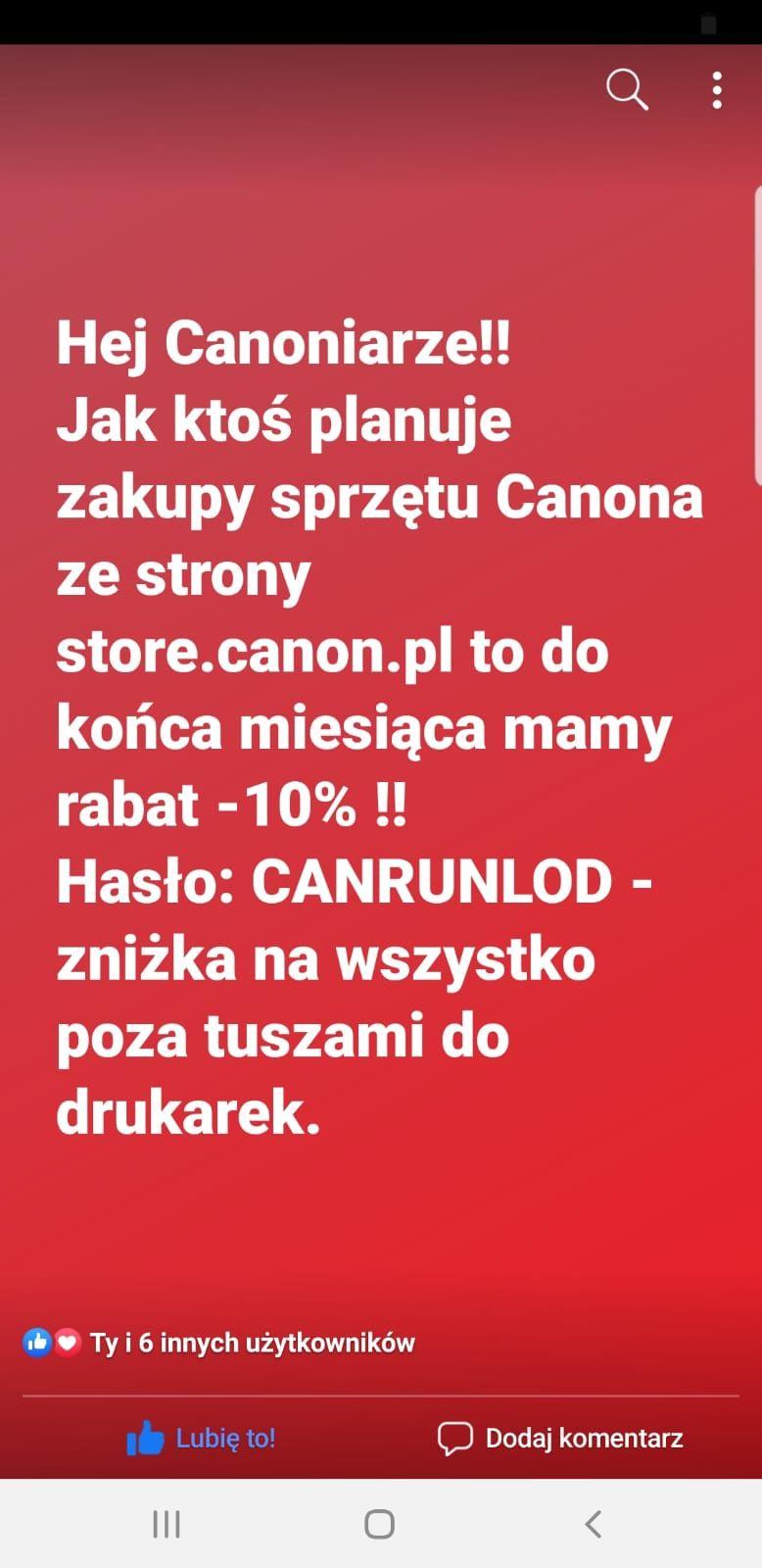 10% zniżki na wszystkie produkty Canon w oficjalnym sklepie Canon