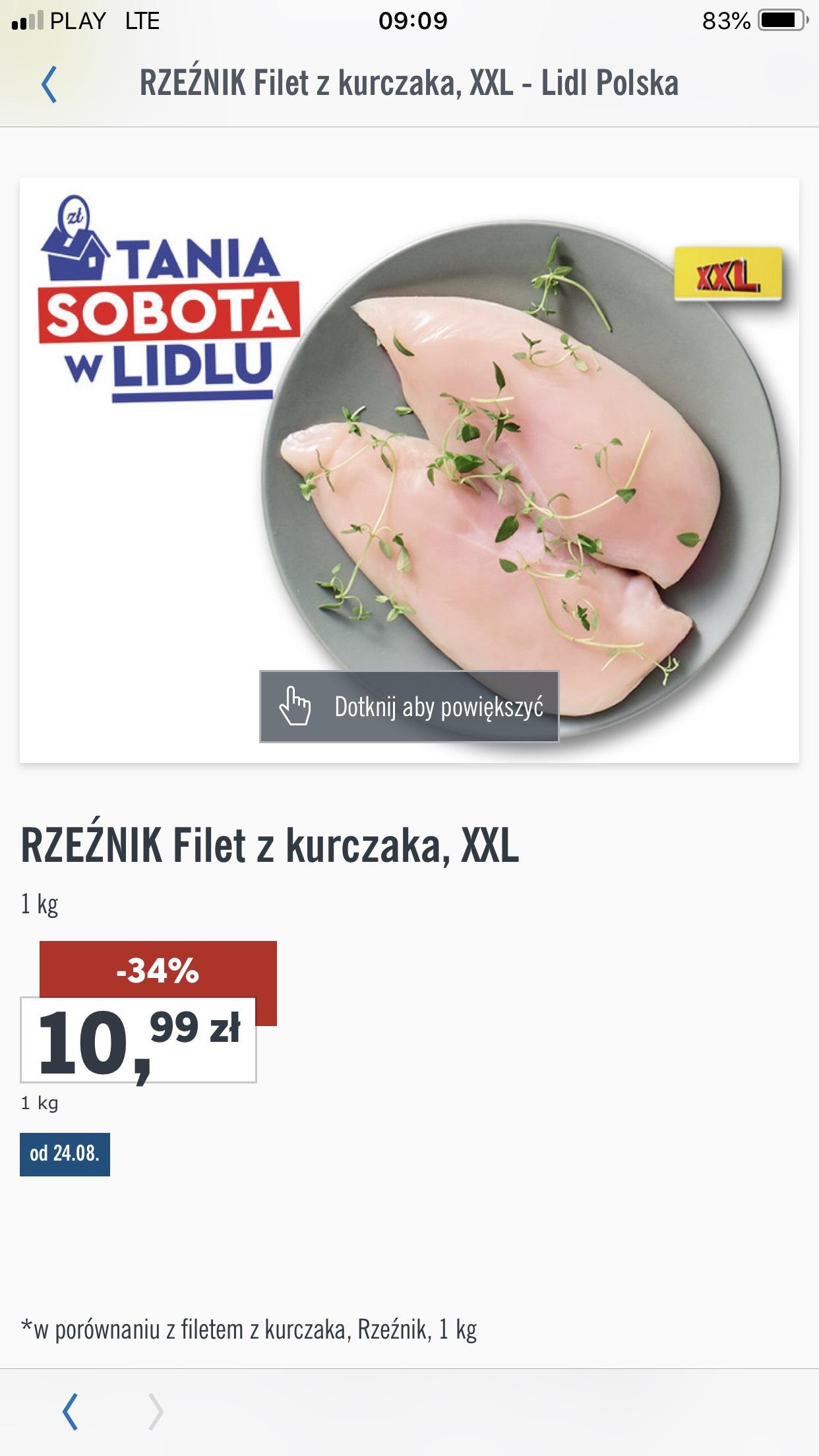 Filet z piersi kurczaka 10,99 zł/kg LIDL
