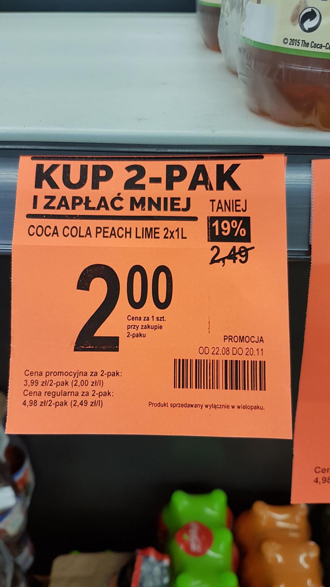Coca cola 1l Lime/peach 2 zł (przy zakupie 2 sztuk) biedronka hit cenowy
