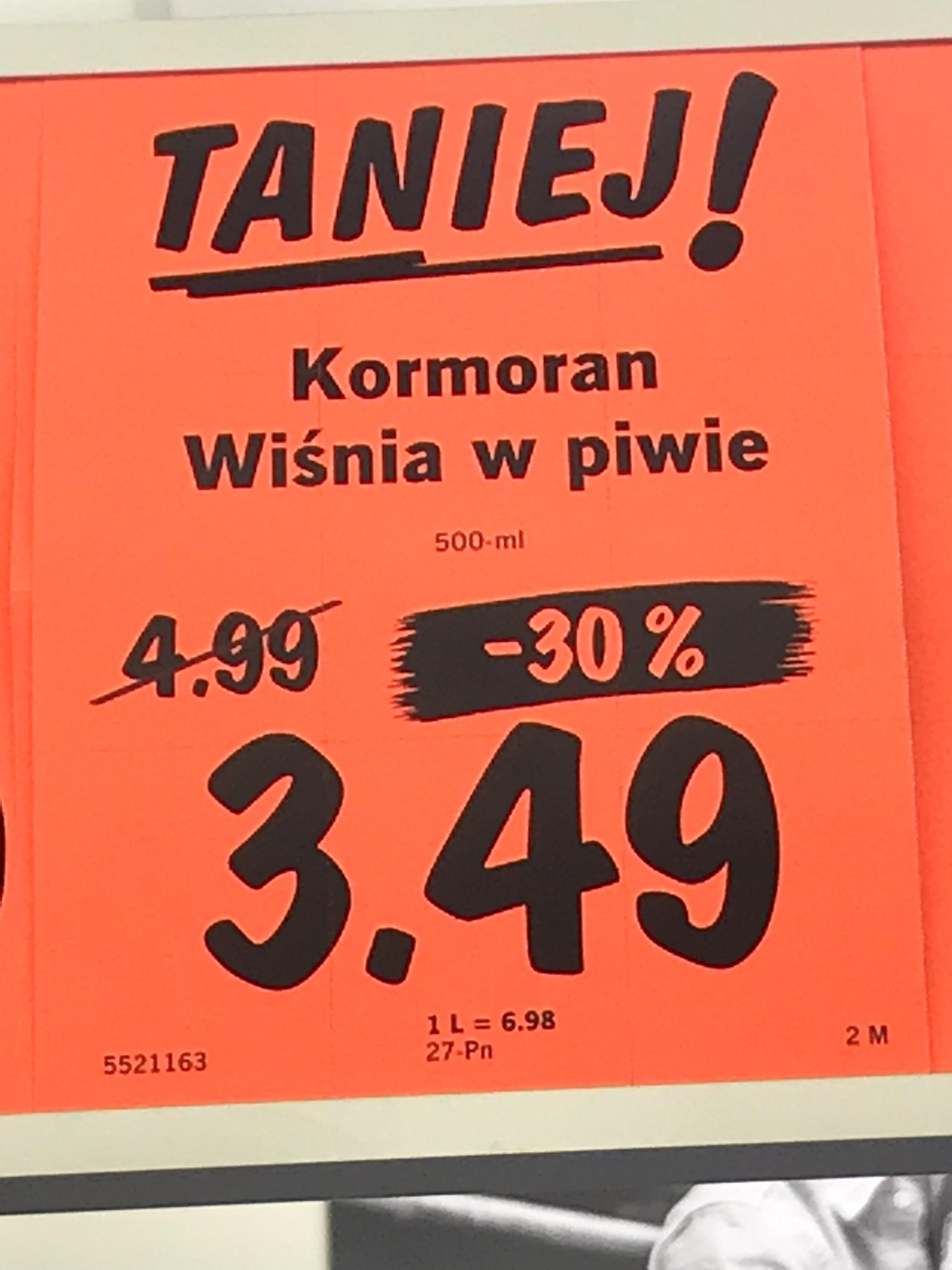 Piwo Kormoran Wiśnia w piwie Lidl Lublin Białkowska Góra