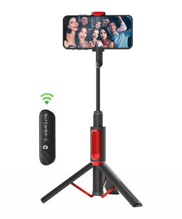 BlitzWolf® BW-BS10 All In One Portable Bluetooth Selfie Stick - Black