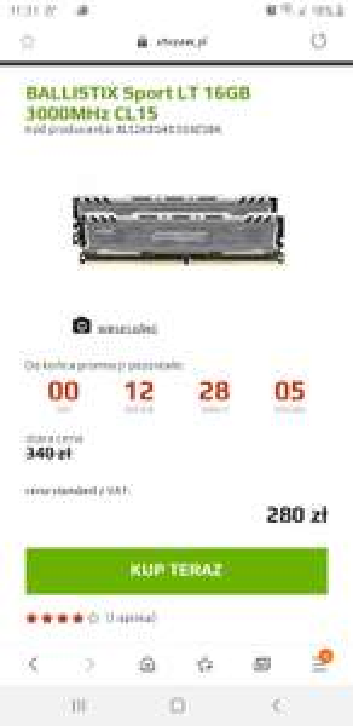 Pamięć ram DDR4 16GB 2x8GB Ballistix 3000MHz CL15