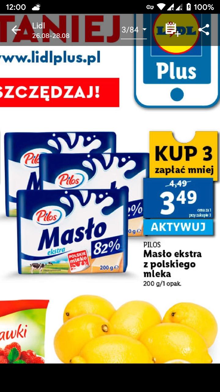 Masło ekstra Pilos z kuponem Lidl plus po 3,49 zł/szt. przy zakupie 3