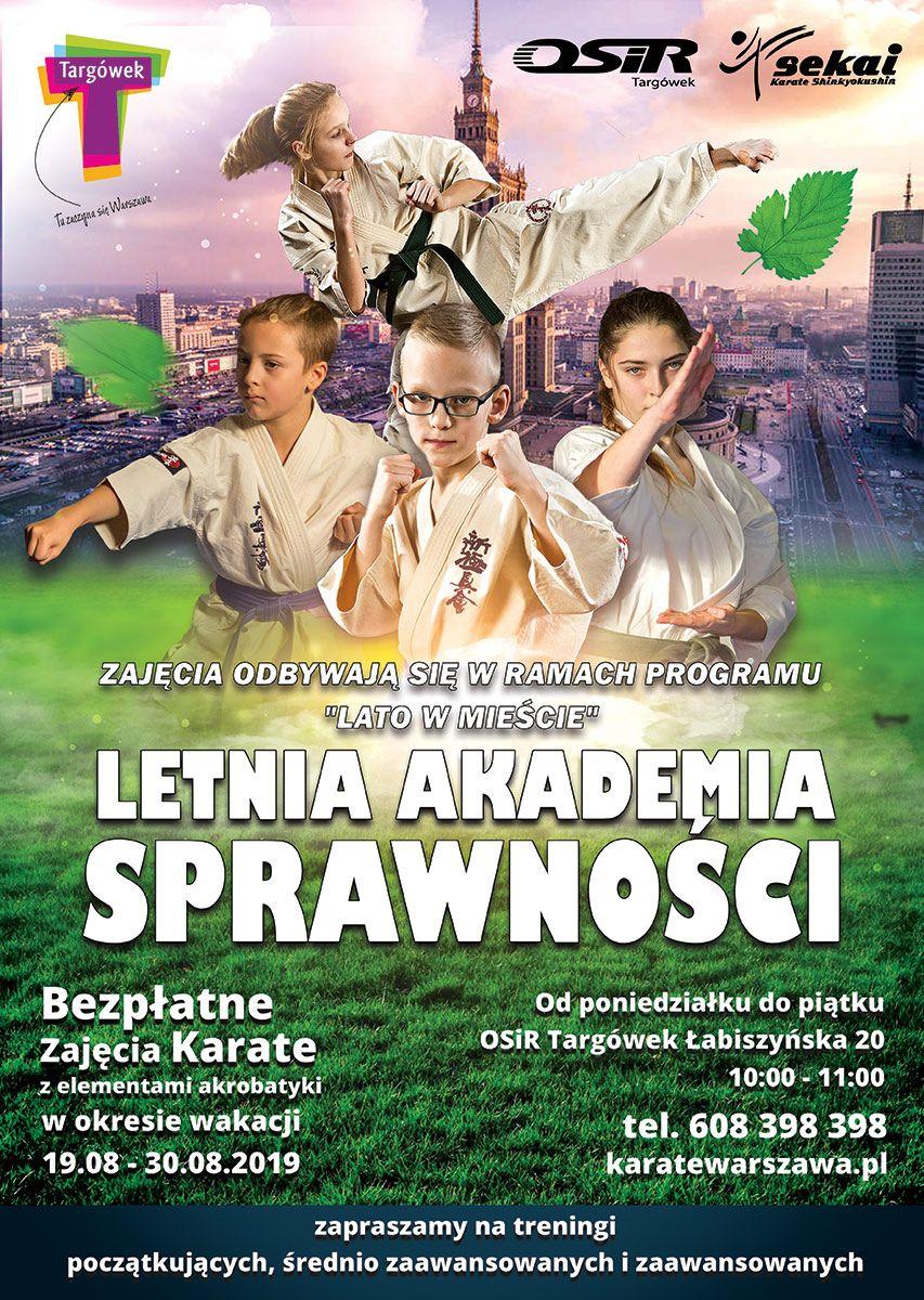 Letnia akademia sprawności, Bezpłatne Zajęcia Karate i Akrobatyki (Warszawa)