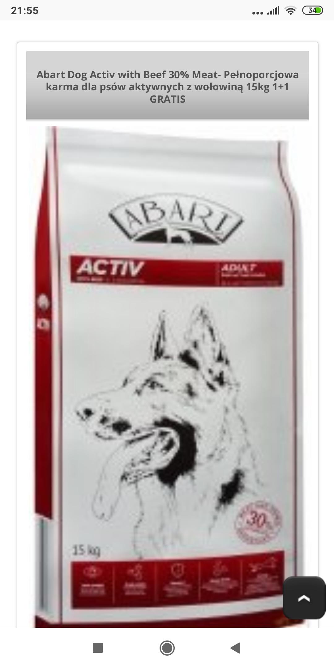Abart Dog Activ with Beef 30% Meat- Pełnoporcjowa karma dla psów aktywnych z wołowiną 15kg 1+1 GRATIS