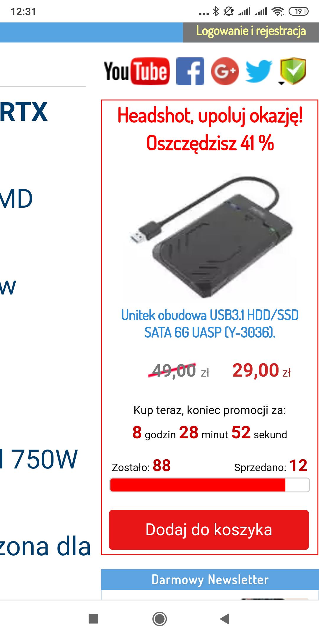 Obudowa na dysk 2.5 całą USB 3.1