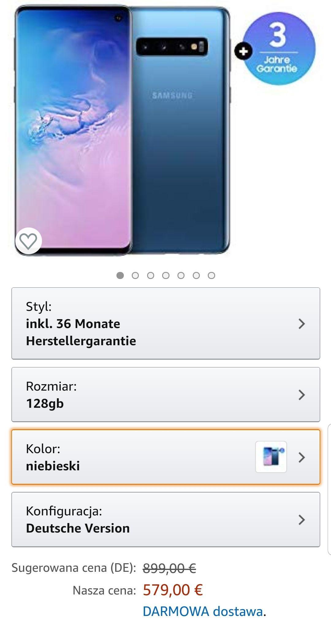 Samsung S10 niebieski @ amazon de ( s10e za 2228zl)