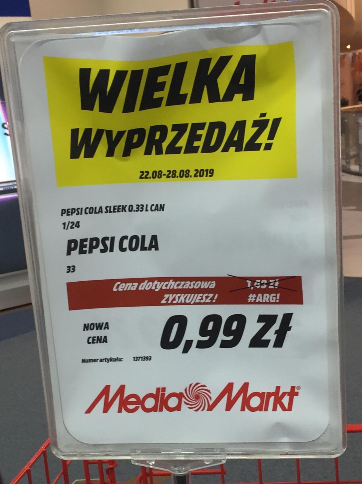 Promocja pepsi cola 0,33ml za 99gr Poznań Avenida