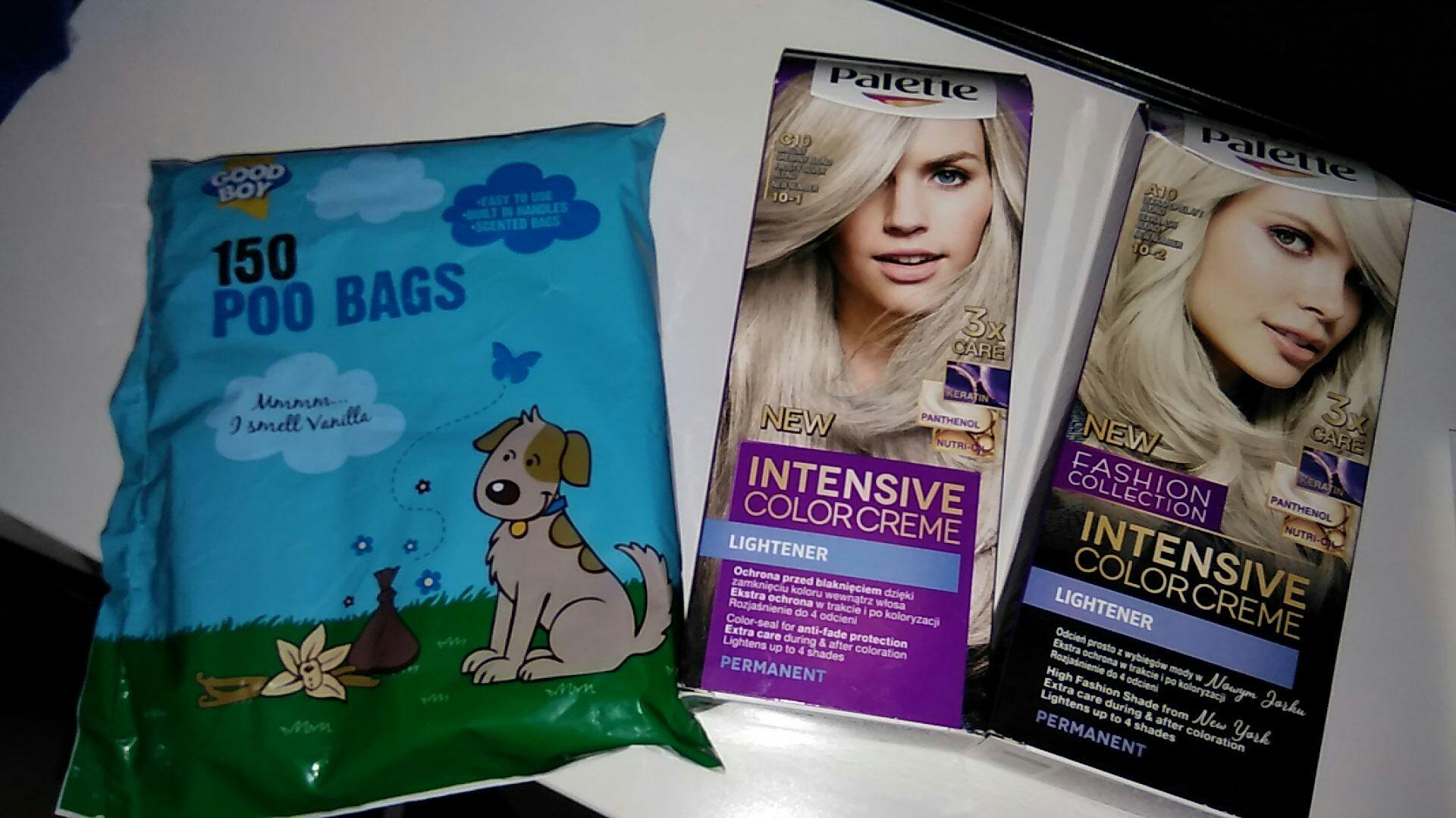 Worki na kupki dla psa i farba do włosów palette Tesco