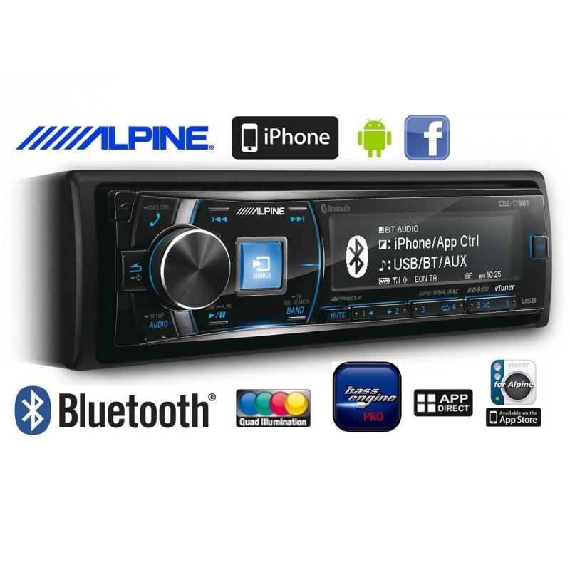 Radioodtwarzacz samochodowy Alpine CDE-178BT z Bluetooth, CD, USB, odbieraniem rozmów telefonicznych