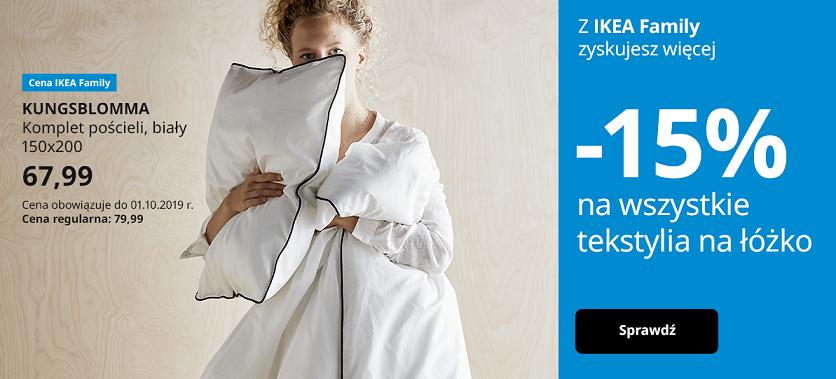 -15% na wszystkie tekstylia na łóżko @ Ikea
