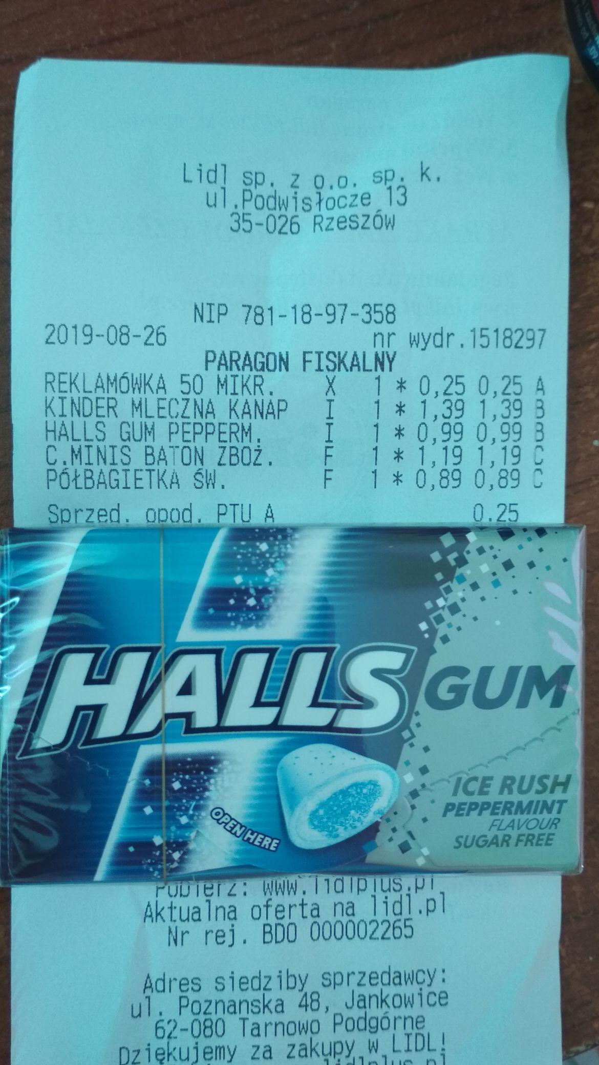 Guma Halls peppermint LIDL