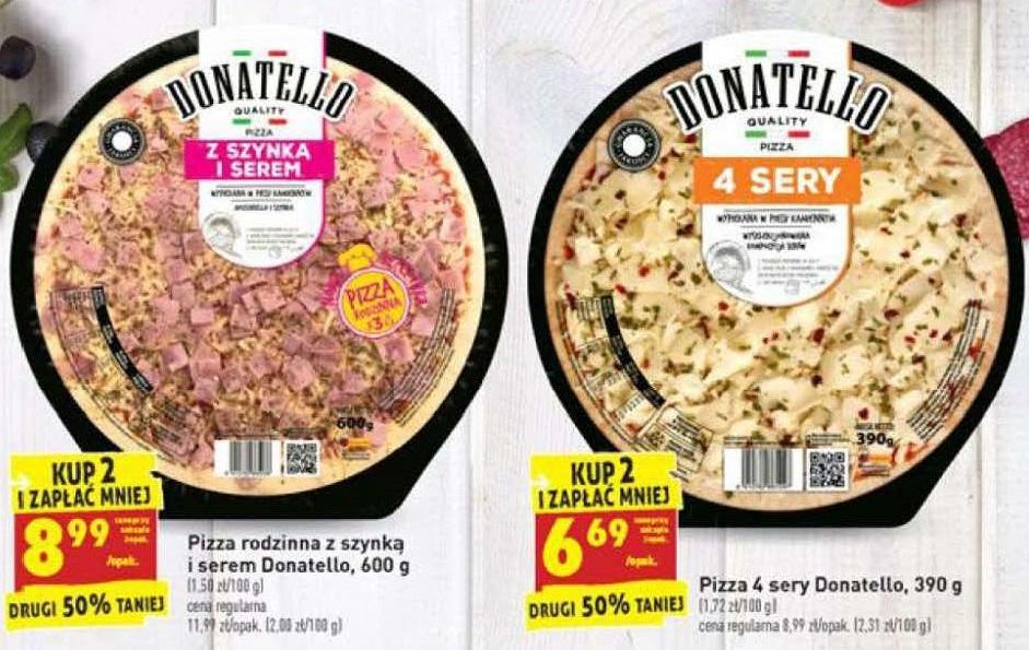 Pizza Donatello  8.99 lub 6.69 za sztukę przy zakupie dwóch! Od 26.08 do 31.08.