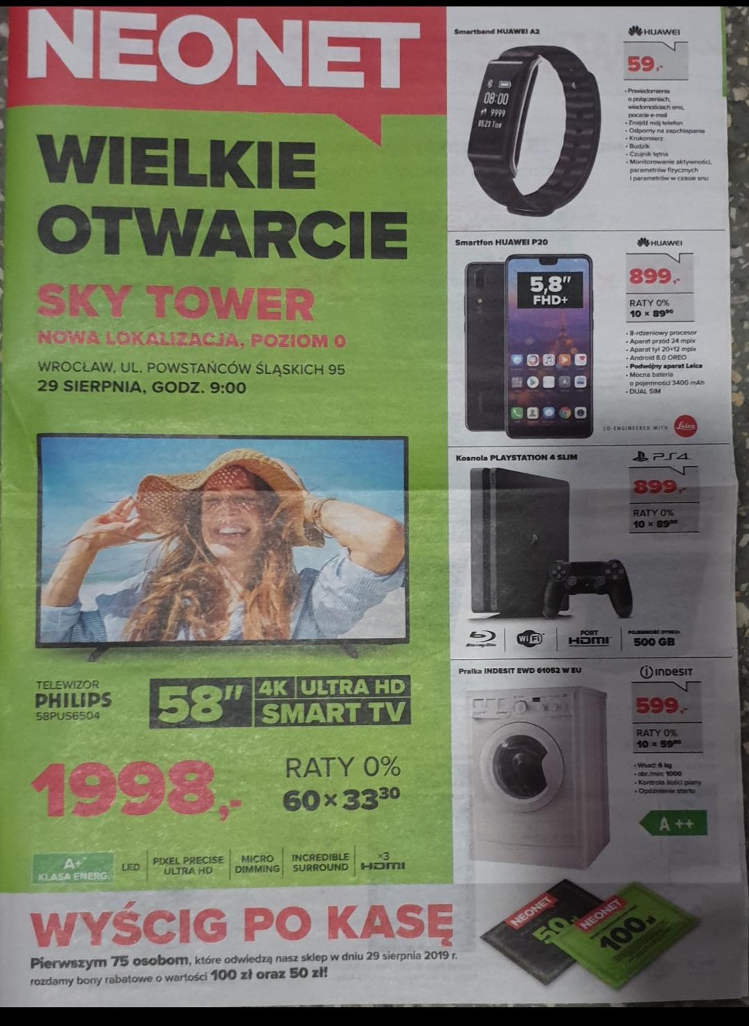 Tylko WROCŁAW Neonet Huawei P20 czarny 4/64GB za 899zł, PS4 SLIM 500GB 899zł, Pralka Indesit za 599zł TV Philips 58cali za 1999zł