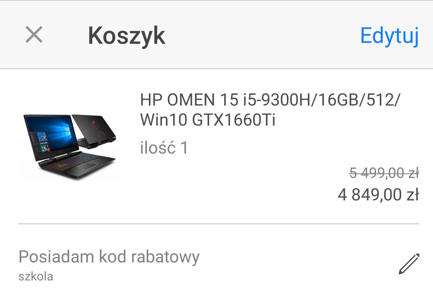 HP OMEN 15 i5-9300H/16GB/512/Win10 GTX1660Ti/THUNDERBOLT