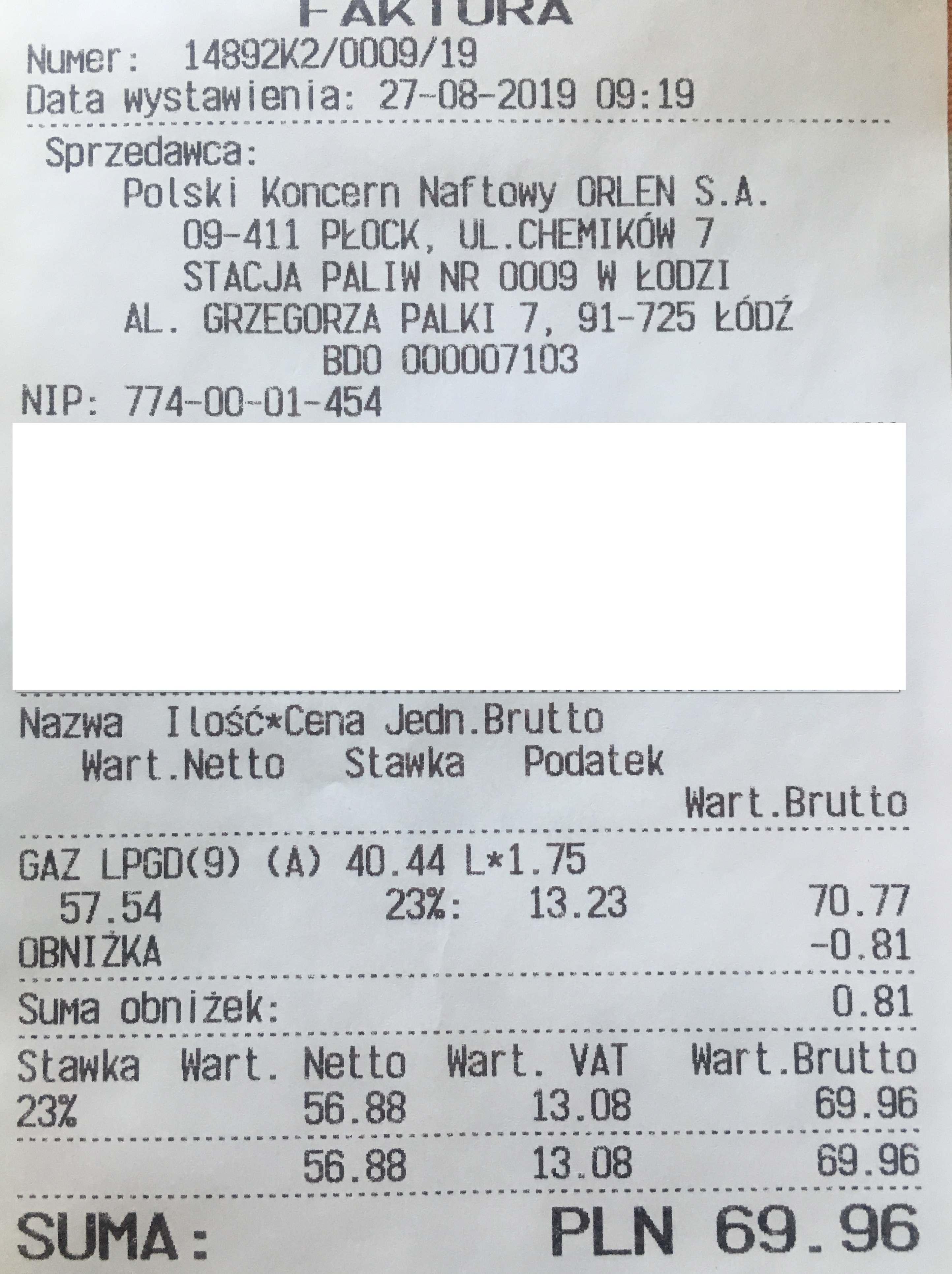 LPG Łódź, ul. Palki przy dołach