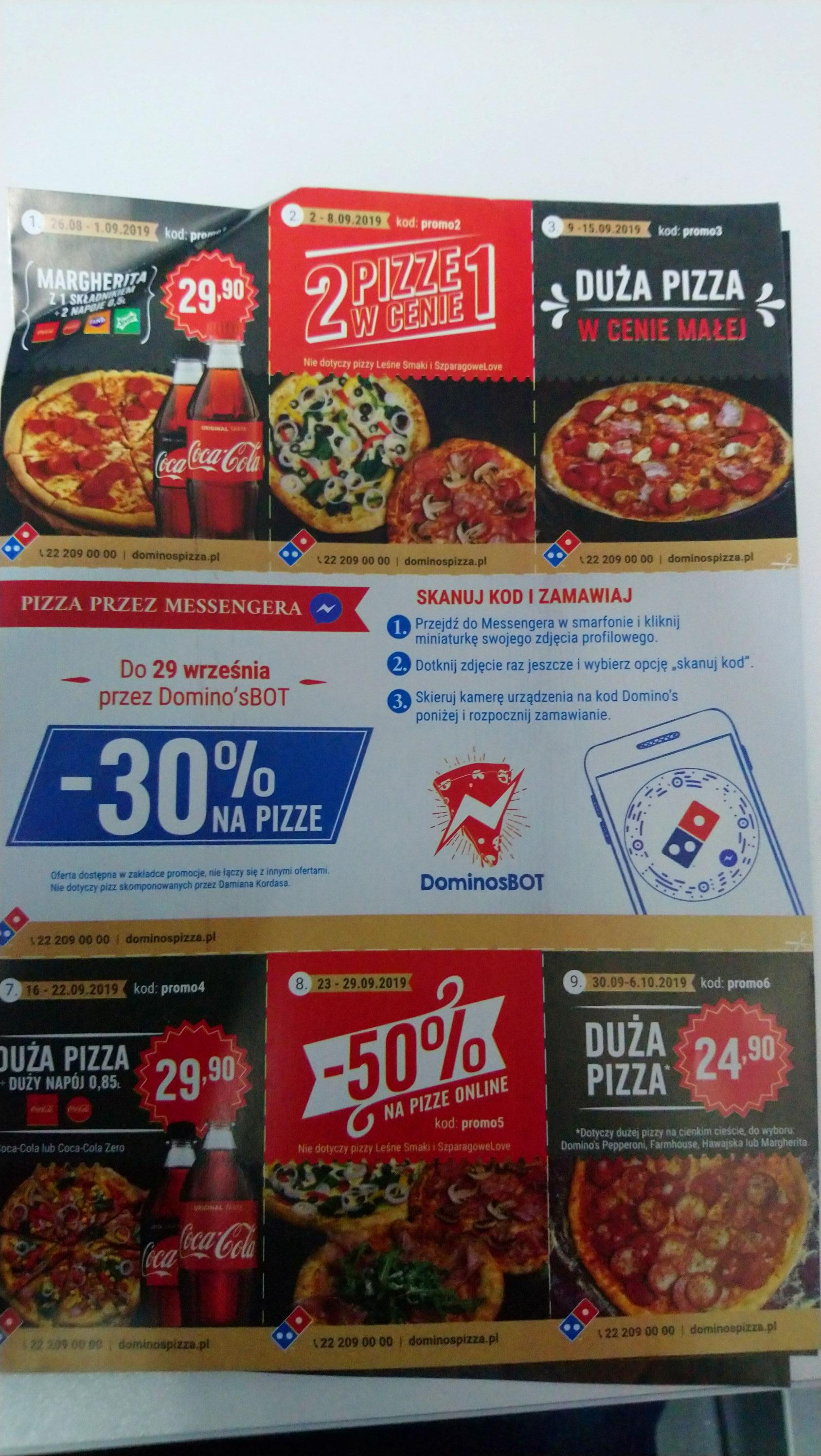 Kody promocyjne Dominos pizza wrzesień.