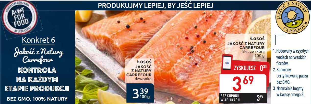 Filet z łososia ze skórą w Carrefour za 30 zł/kg przy 3 kg