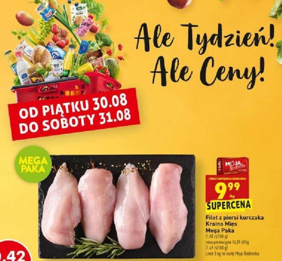 Filet z piersi z kurczaka 9,99 zł/kg/ ziemniaki wczesne 1,45 zł/kg/ czerwona papryka 3,75 zł/kg - Biedronka