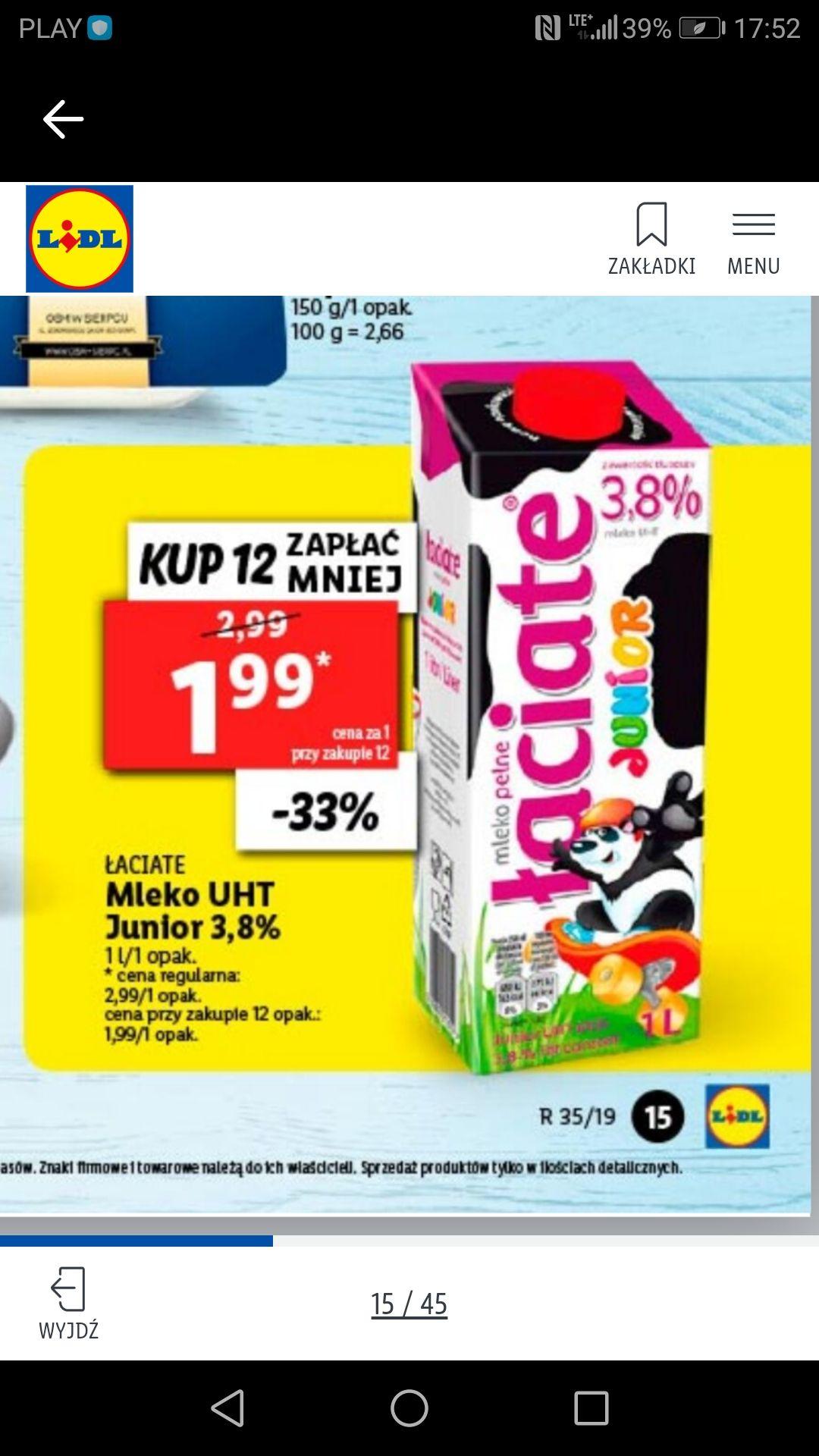 Kup 12szt zapłać taniej Lidl Mleko Łaciate 3,8%