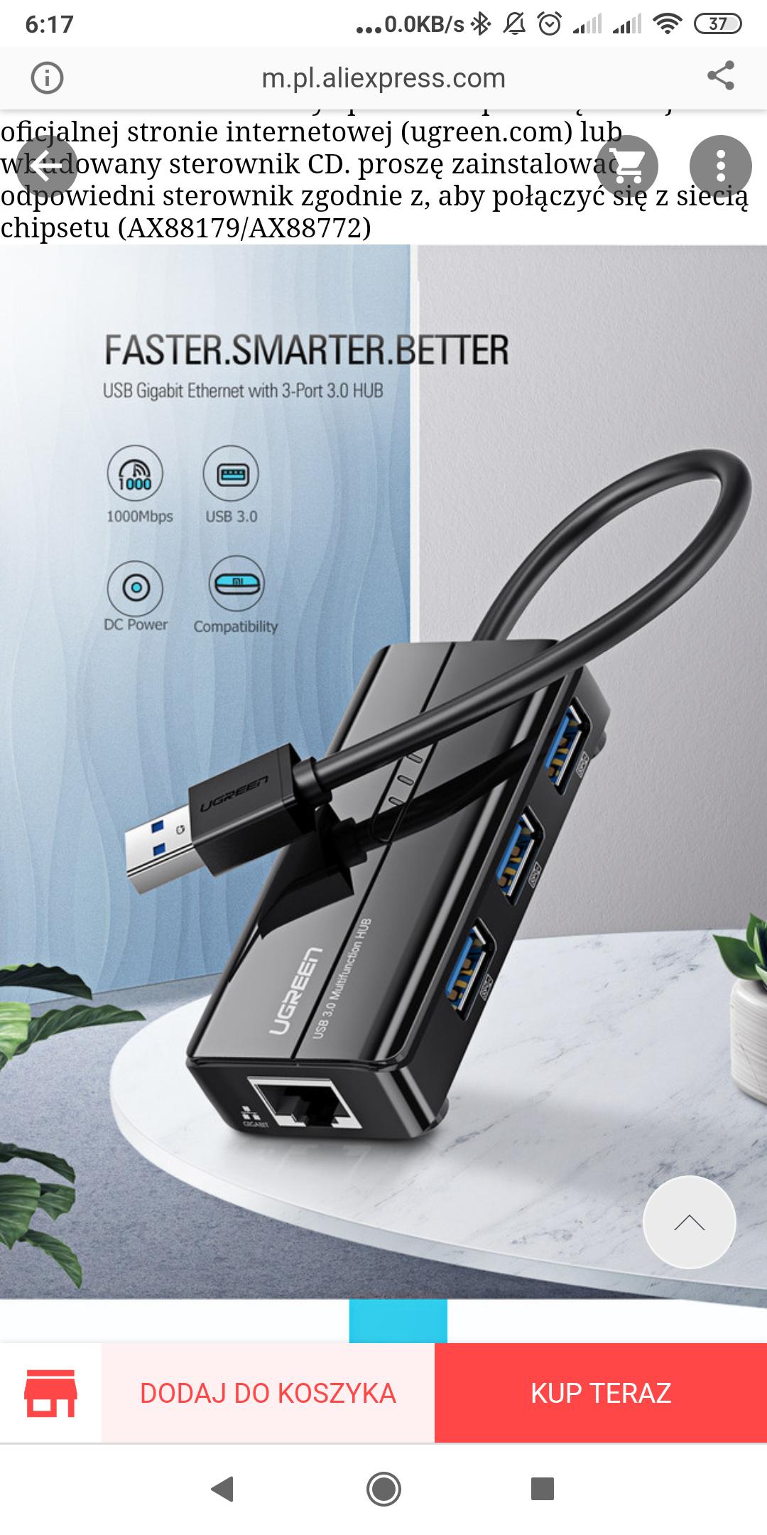 Ugreen USB USB Ethernet 3.0 2.0 RJ45 idealny do Xiaomi mi Box 3/S