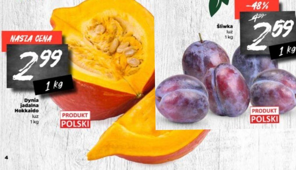 Śliwka luz 2.59/kg Produkt Polski, Dynia jadalna Hokkaido 2.99/1kg Produkt Polski   NETTO od 26.08 do 31.08